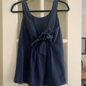 Madewell Silk Blue Tank with Tie on Back